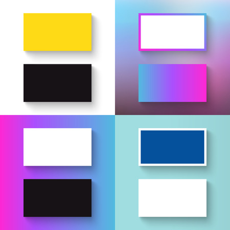 Stack of blank business cards on white / colorful / unfocused background.