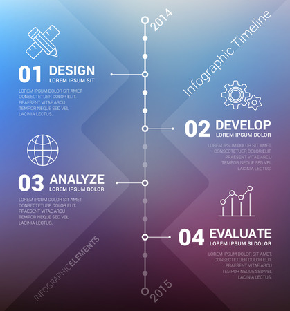 やり場のない背景とレポートのテンプレートとのベクトルのタイムラインのインフォ グラフィック。清潔でモダンなデザイン