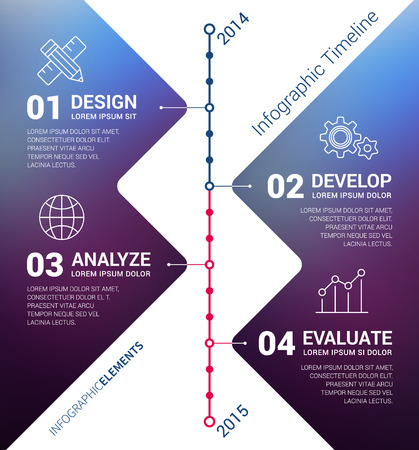 Vector timeline infographic with unfocused background and report template. Modern and clean design Vettoriali