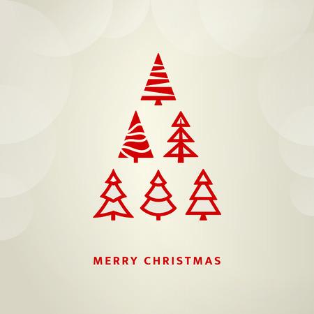 挨拶のため赤のクリスマス ツリー  イラスト・ベクター素材