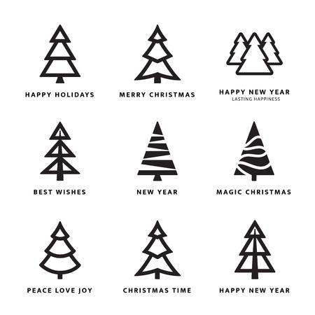 ブラック クリスマスの木の白い背景を持つコレクション。ベクトル イラスト
