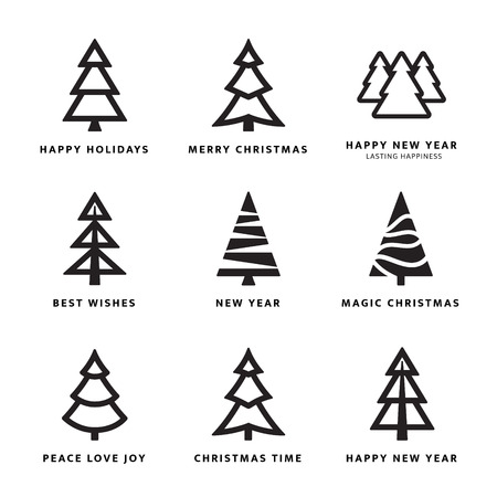 Black Christmas trees collection with white background. Vector illustration