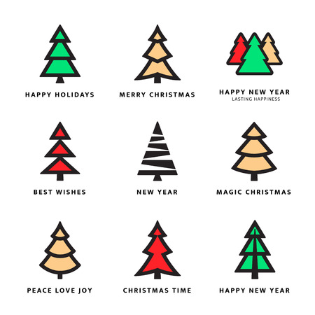 Colorful Christmas trees collection with white background. Vector illustration Vettoriali