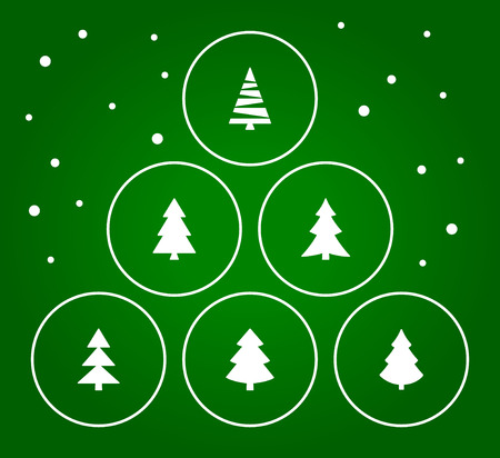 Christmas trees collection with green background. Vector illustration