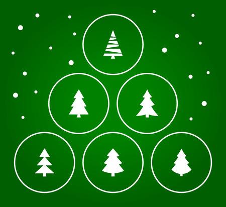 Weihnachtsbaumansammlung mit grünem Hintergrund. Vektor-Illustration Standard-Bild - 35080944