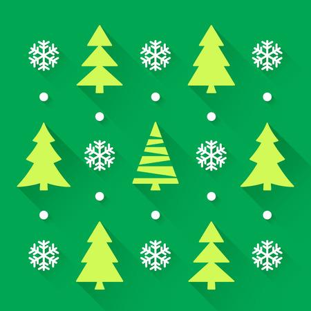 背景が緑色のクリスマス ツリー コレクション。ベクトル図  イラスト・ベクター素材