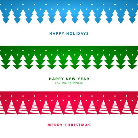 バナーのための木とクリスマス風景ご挨拶