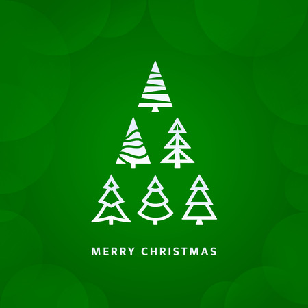 Vector christmas tree with green background - greetings card