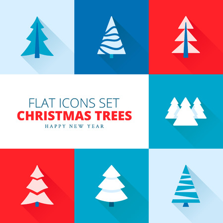 Vector set of fir trees / pines / spruces Vettoriali