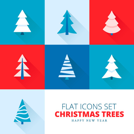 Vector set of fir trees  pines  spruces Ilustrace