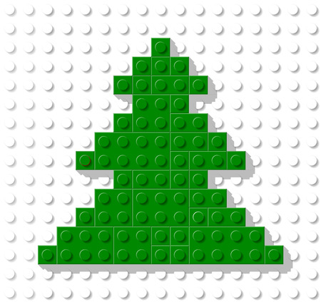 Vector template in shape tree from plastic construction block. Greeting card for Christmas and New Year 일러스트