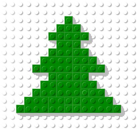 Vektor-Vorlage in Form von Baum Kunststoff-Konstruktion Block. Grußkarte für Weihnachten und Neujahr Standard-Bild - 35081227
