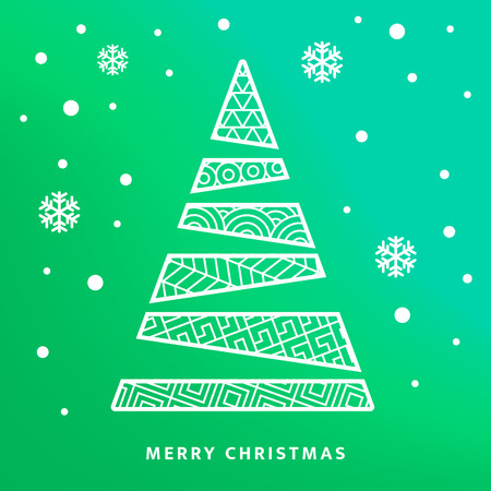 Vector Christmas tree and night sky with falling snow flakes. Greetings card Ilustrace