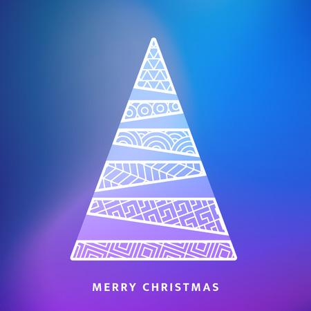 ベクトルのクリスマス ツリーと夜空落ちてくる雪の結晶を。グリーティング カード