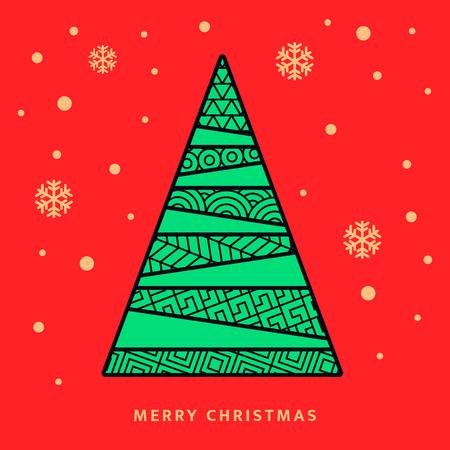 落ちてくる雪の結晶のクリスマス ツリーと夜空をベクトルします。グリーティング カード  イラスト・ベクター素材
