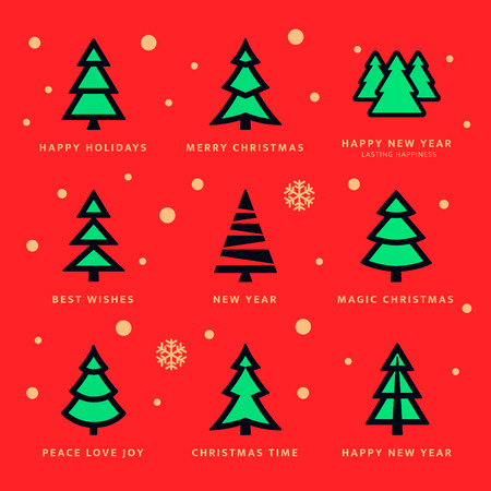 Colorful Christmas trees collection and sky with falling snow flakes with red background. Vector illustration