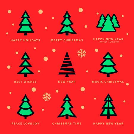 Bunte Weihnachtsbäume Sammlung und Himmel mit fallenden Schneeflocken mit rotem Hintergrund. Vektor-Illustration Standard-Bild - 35081308