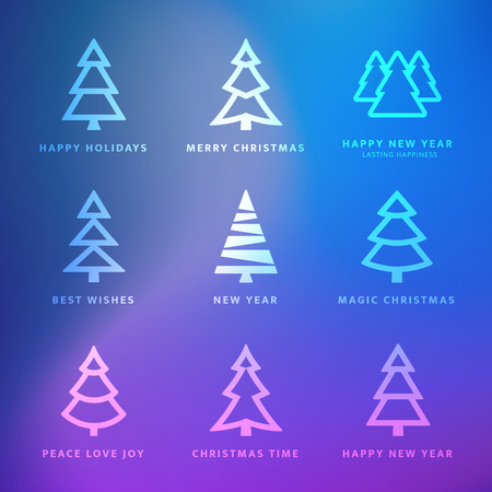 Vector Christmas trees collection with violet background - greetings card
