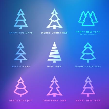 Vector Weihnachtsbäume Sammlung mit violetten Hintergrund - Grußkarte Standard-Bild - 35081313