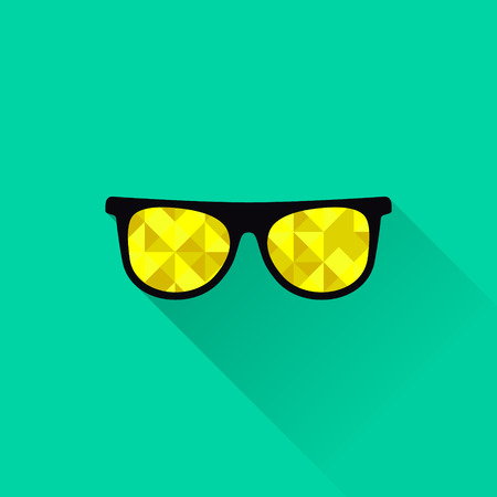 eye glass frame: Sunglasses with yellow lenses in flat design. Vector illustration