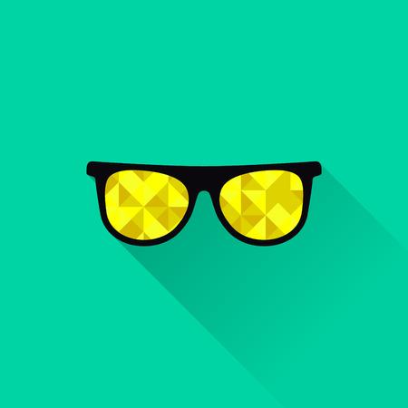 sun glasses: Sunglasses with yellow lenses in flat design. Vector illustration