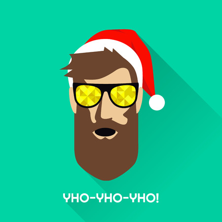 Vector illustration of guy with sunglasses and a Christmas hat