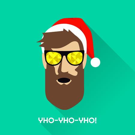 Vektor-Illustration der Mann mit Sonnenbrille und einer Weihnachtsmütze Standard-Bild - 35081436