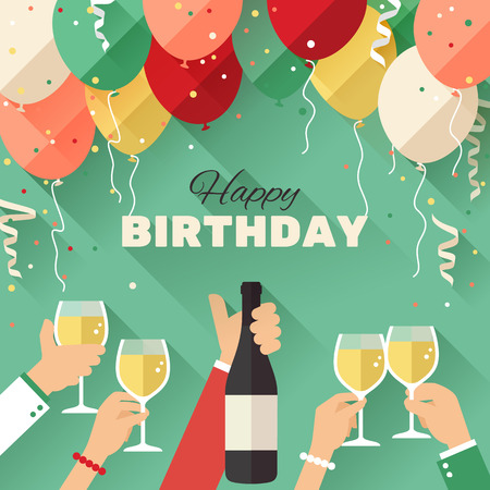 champagne celebration: Birthday party greeting card in a flat style