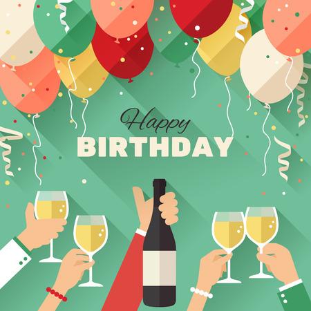 saúde: Cartão do aniversário do partido em um estilo de apartamento