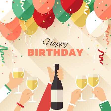 フラット スタイルで誕生日パーティー グリーティング カード