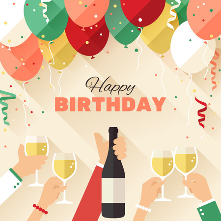 Birthday party greeting card in a flat style