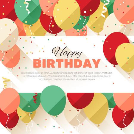 フラット スタイルで幸せな誕生日グリーティング カード
