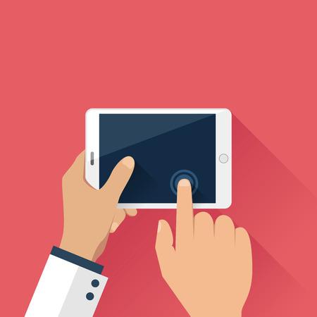 Hands holding digital tablet in flat design style 일러스트