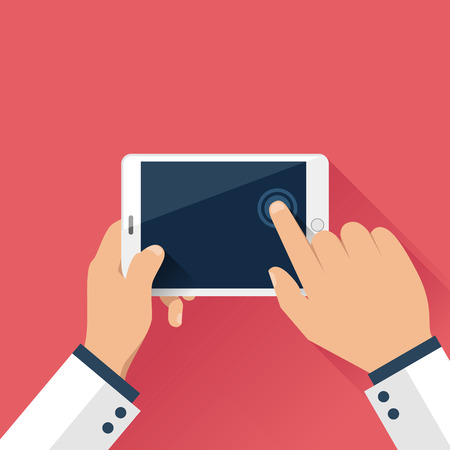 Hands holding digital tablet in flat design style Vettoriali