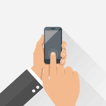 Hands holding mobile phone in flat design style. 일러스트