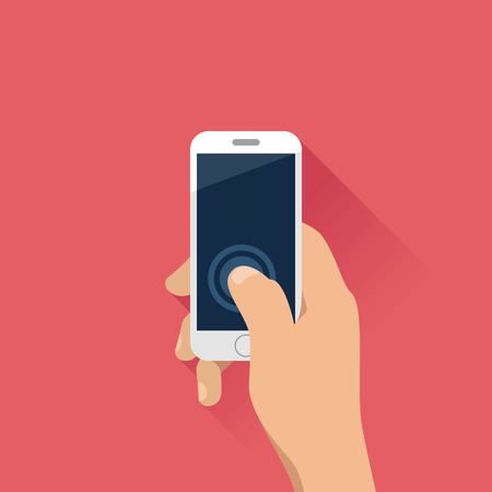 Hand holding mobile phone in flat design style.