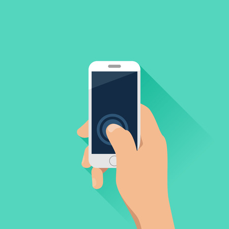 Hand holding mobile phone with turquoise background. Flat design style. Vettoriali