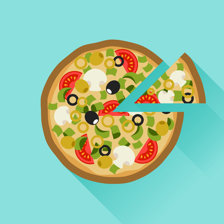 Yummy pizza in flat design style
