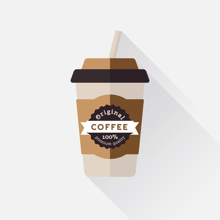 Coffee cup icon with with label 일러스트