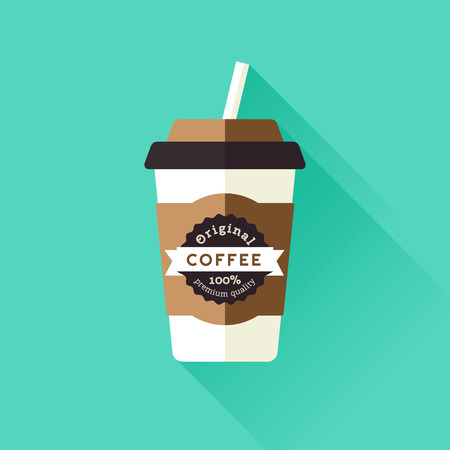 Coffee cup icon with with label Vettoriali