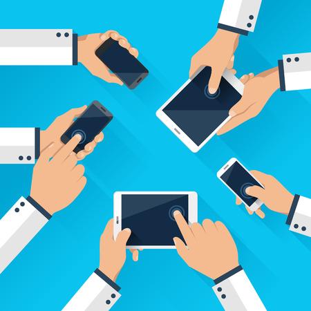 携帯電話とタブレットとスマート フォンを使用してビジネスのチームの概念  イラスト・ベクター素材