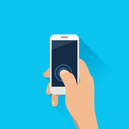touch screen phone: Hand holding mobile phone in flat design style