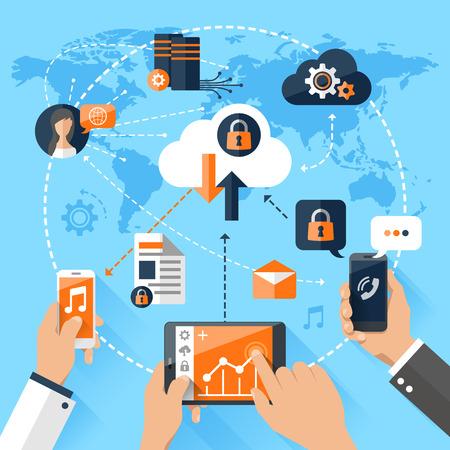 red informatica: Dispositivos móviles ilustración vectorial Flat concepto conectado a un dispositivo de almacenamiento de datos de nube Vectores