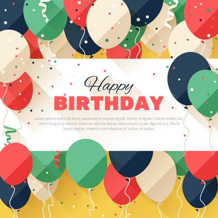 お誕生日おめでとう。発表ポスターチラシフラット スタイルのグリーティング カード