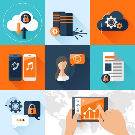 平らなベクトル イラスト概念モバイル デバイス クラウド データ ストレージ上に接続されています。携帯電話用要素および web アプリケーション
