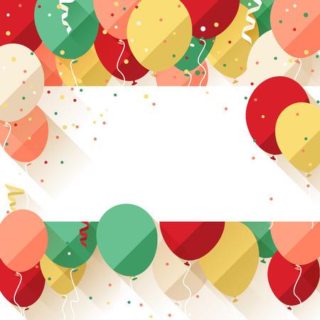 幸せな誕生日発表ポスターチラシフラット スタイルのグリーティング カード  イラスト・ベクター素材