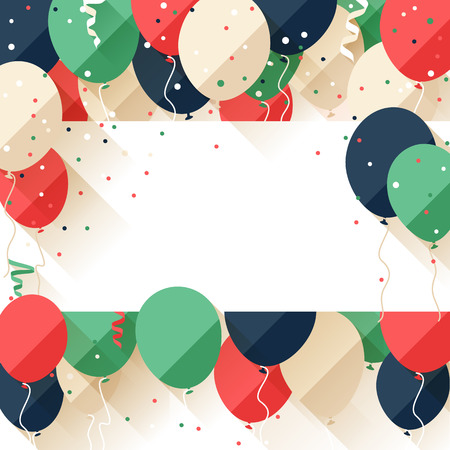 welcoming party: Happy Birthday announcement  poster  flyer  greeting card in a flat style Illustration