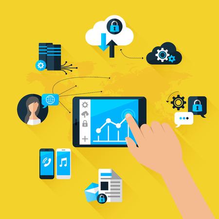フラット ベクトル図コンセプトのモバイル デバイスは、クラウド データ ストレージに接続します。携帯電話用の要素および web アプリケーション  イラスト・ベクター素材