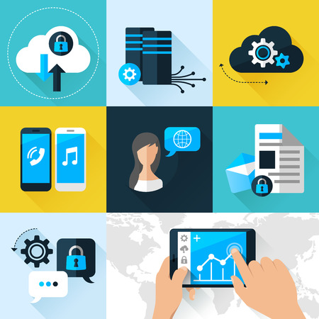 Flat vector illustration concept mobile devices connected onto a cloud data storage. Elements for mobile and web applications