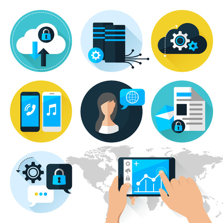 data recovery: Flat illustration concept mobile devices connected onto a cloud data storage.